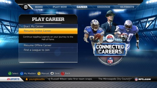 Madden NFL 13 Begin Career