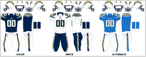 San Diego Chargers - Uniformes